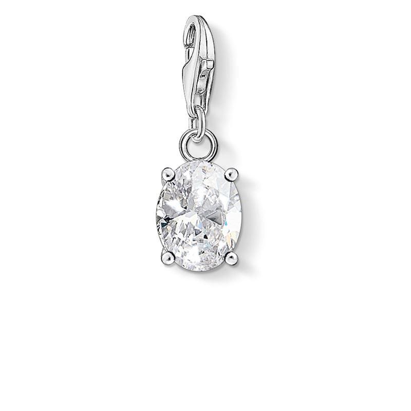 berlocker - Charm hängsmycke vit sten oval