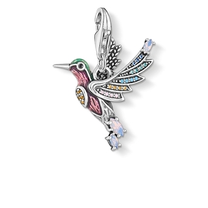 berlocker - Charm hängsmycke färgglad kolibri silver